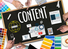 Content marketing, online concept , Content Data Blogging Media Stock Photo