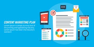 Content marketing planning, business promotion strategy via digital contents. Concept of digital content marketing and planning for business organization. Flat royalty free illustration