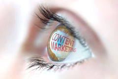 Content Marketing reflection in eye. Royalty Free Stock Images