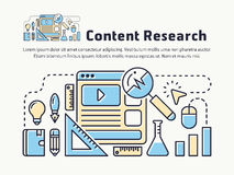 Content marketing research thin line icon design. Website user experience research, digital marketing analysis. Vector illustration stock illustration