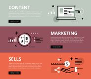 Content Marketing Sells. Web banners  set Royalty Free Stock Image