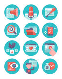 Content Marketing and SEO Icons stock illustration