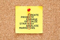 Content Marketing Strategy Crossword Concept On Sticky Note stock images