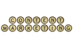 Content marketing. Text  in old round typewriter keys isolated on white Royalty Free Stock Photography