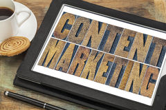 Content marketing typography on tablet Stock Photography