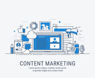 Content marketing. Vector illustration digital content marketing concept. For website banner and landing page royalty free illustration