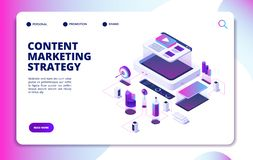 Content marketing. Video blog content strategy, digital market promotion. Website publishing isometric vector landing. Page. Content strategy advertising vector illustration