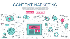 Content, marketing for website banner and landing page Royalty Free Stock Photos