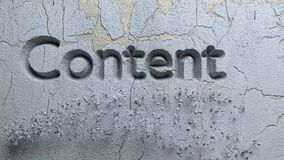Content Marketing word carved in stone wall stock footage