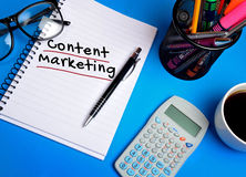 Content marketing word. On notepad Royalty Free Stock Photo