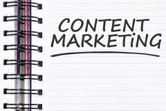 Content marketing words on spring note book Stock Photo