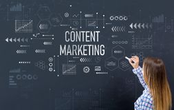 Content marketing with young woman stock photography