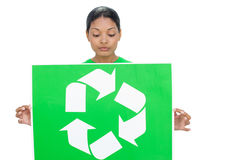 Content model holding recycling sign Royalty Free Stock Photo