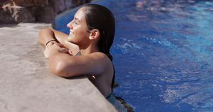 Content model relaxing in pool stock footage