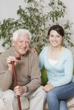 Content old man and granddaughter Stock Photo