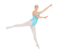 Content pretty ballerina posing and jumping Royalty Free Stock Images