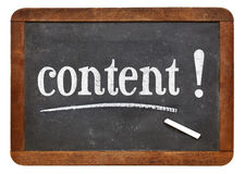 Content reminder on blackboard Stock Photography