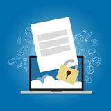 Content security file protection document paper locked confidential safety encryption forbidden Royalty Free Stock Photography