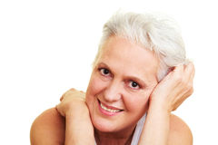 Content senior woman smiling Stock Photo