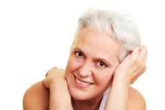 Content senior woman smiling Stock Photo