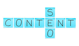 Content SEO Blue Sticky Notes Royalty Free Stock Photography