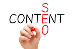 Content SEO Crossword. Hand writing Content SEO crossword with marker on transparent wipe board stock images
