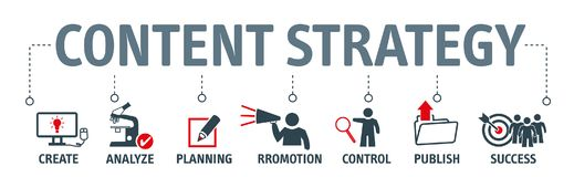 Content strategy concept chart icons on banner. Banner content strategy vector illustration concept with keywords and icons stock illustration