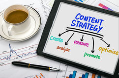 Content strategy concept hand drawing on tablet pc Stock Photos