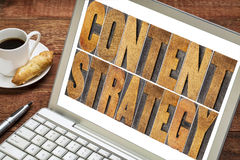 Content strategy concept. Content strategy - text in letterpress wood type printing blocks on a laptop screen with cup of coffee Stock Images