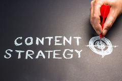 Content strategy. Handwriting of content strategy topic with hand put a dart hit on the target Royalty Free Stock Images
