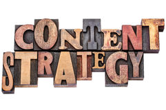 Content strategy typography word abstract. Isolated text in mixed letterpress wood type printing blocks Stock Photo