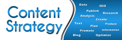 Content Strategy Wordcloud Blue Horizontal Stock Photo