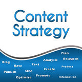 Content Strategy Wordcloud Blue Square Stock Photos
