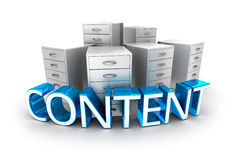 Content text and office containers Stock Photos