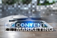 Content text on virtual screen. Business technology and internet concept. Stock Photo