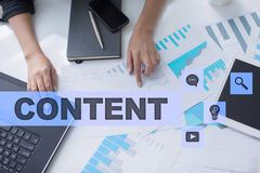 Content text on virtual screen. Business technology and internet concept.  royalty free stock photography