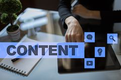 Content text on virtual screen. Business technology and internet concept. Royalty Free Stock Photo