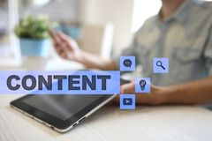 Content text on virtual screen. Business technology and internet concept. Stock Photos