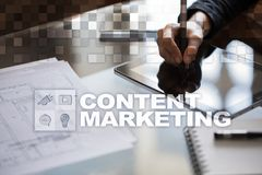 Content text on virtual screen. Business technology and internet concept. Content text on virtual screen. Business technology and internet concept Stock Photo
