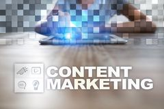 Content text on virtual screen. Business technology and internet concept. Stock Images