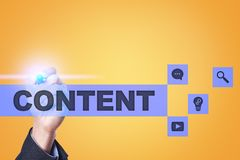Content text on virtual screen. Business technology and internet concept. Stock Photography