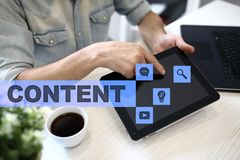 Content text on virtual screen. Business technology and internet concept. Royalty Free Stock Images