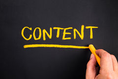 Content topic. Hand writing Content topic on chalkboard Stock Image