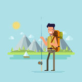 Content tourist with a fishing rod to catch fish on the background of a mountain lake. Happy fisherman on a sunny day. Natural landscape. Vector illustration Stock Images