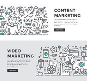 Content & Video Marketing Doodle Banners. Doodle  illustrations of creating, managing & distributing quality content. Digital marketing concepts for web banners Stock Photos