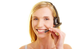 Content woman with headset Stock Photography