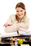 Content woman at her desk Stock Photography