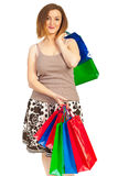 Content woman with shopping bags Stock Photos