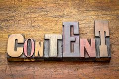 Content word abstract in wood type Stock Photos