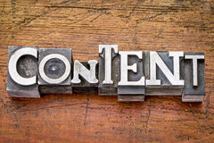 Content word in metal type Royalty Free Stock Photo